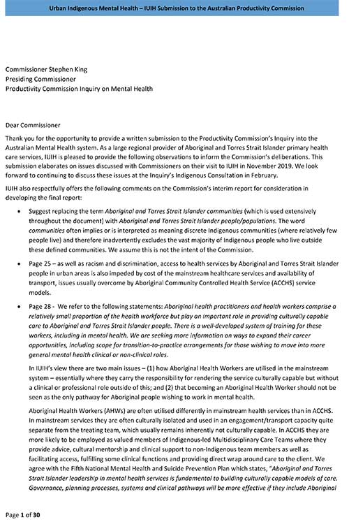 IUIH submission   PC Mental Health Inquiry