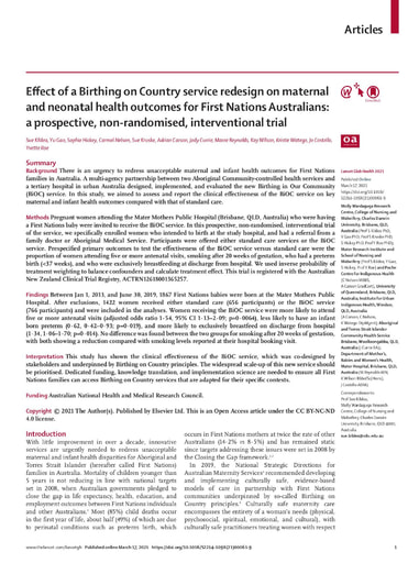 Effect of a Birthing on Country service redesign on maternal and neonatal health outcomes for First Nations Australians