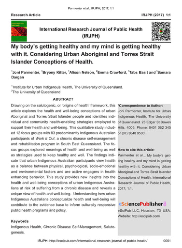 My body's getting healthy and my mind is getting healthy with it. Considering Urban Aboriginal and Torres Strait Islander Conceptions of Health.