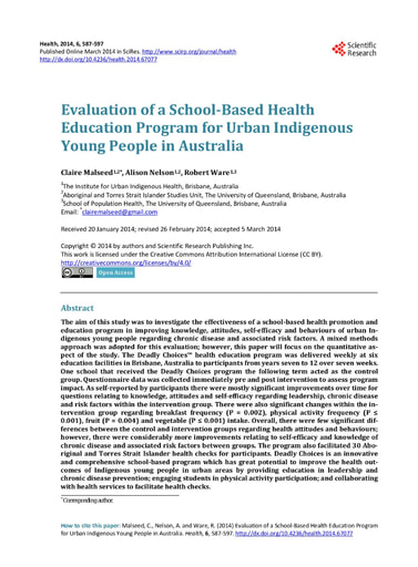 Evaluation of a School-Based Health Education Program for Urban Indigenous Young People in Australia