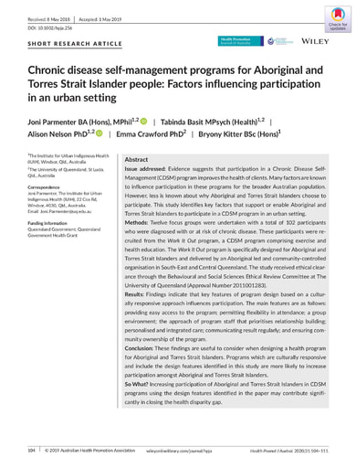 Chronic disease self  management programs for Aboriginal and Torres Strait Islander people Factors influencing participation in an urban setting