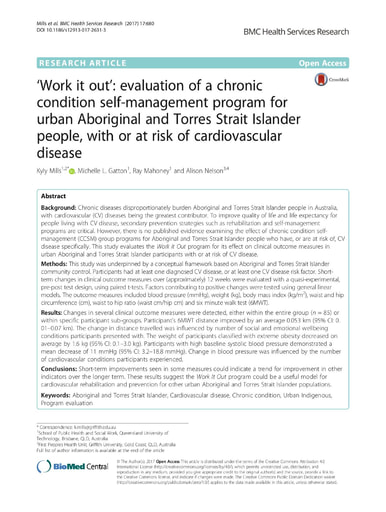 'Work it out': evaluation of a chronic condition self-management program for urban Aboriginal and Torres Strait Islander people, with or at risk of cardiovascular disease